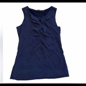 The Limited Navy Blue Polka Dot Ruffle Tank Top